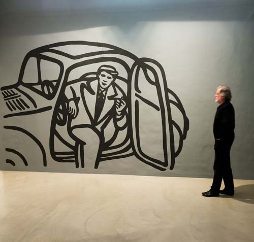 Grandad in a Topolino, wallpainting, installation view